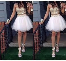popular two piece gold prom dresses short buy cheap two piece gold