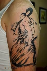 Simple Samurai Tattoo Design On Sleeve