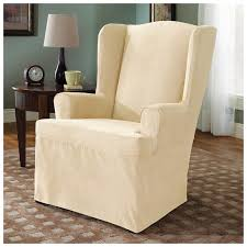 Microsuede Wing Chair Furniture Cover, Cream | Beach House ... Octorose Classic Micro Suede Set Of Two Chair Covers 1 Pc Soft Fniture Slipcover For Loveseat 20 Luxury Design Microfiber Ding Seat Room Chairs Off White Eamoxyz Parson For Your Interior Ideas Maria Upholstered Serta Reversible Stretch Slipcovers Short Skirt Microsuede Parsons 2
