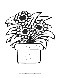 Summer Coloring Page Flower Pot