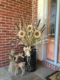Screened In Porch Decorating Ideas And Photos by Old Milk Can Front Porch Decor Sunflowers Fall Decorations