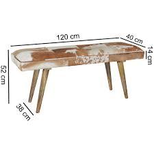 sitzbank ziegenfell massivholz bank 120 x 40 x 52 cm polsterbank flur esszimmer braun kleine bettbank fell dielenmöbel flurbank