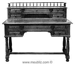caisse de bureau bureau henri ii à caisse et gradin meuble de style