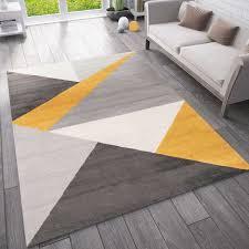 teppich wohnzimmer schlafzimmer flur teppich geometrisches muster gelb vimoda homestyle