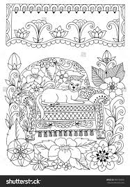 Zentangle Cat On A Chair In Flowers Doodle Drawing Coloring Book Anti Stress For Adults 485199550