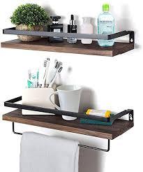 rustikale wandregale mit schienen 2 stück holzwandregale für küche schlafzimmer badezimmer büro braun