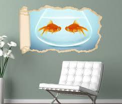 3d wandtattoo tapete fische fisch paar goldfisch aquarium liebe tiere durchbruch selbstklebend wandbild wandsticker wohnzimmer wand aufkleber 11o1517