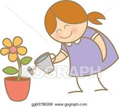 Watering Plant Vector Clipart Royalty Free GoGraph