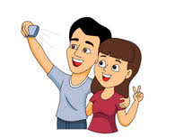 husband wife taking selfie picture clipart
