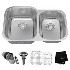 kraus undermount stainless steel 32 in double bowl kitchen sink