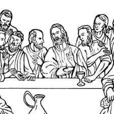 Jesus Christ With 12 Disciples Last Supper Coloring Page