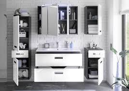 badezimmer komplett set manhattan 5 tlg badezimmer set badmöbel badezimmermöbel in grau abs weiß hochglanz
