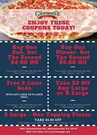 Coupons For Print — Giovanni's Pizza, Pasta & Subs