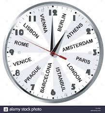 Wall Clock With European City Names For Travel Agency