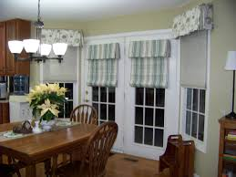 White Door Windows With Striped Curtains In Dining Room Wooden Furniture Set Below Cool