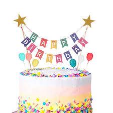 phoetya alles gute zum geburtstag kuchen topper bunting set regenbogen kuchen dekorationen mit 6 stück mini bunte ballon cupcake topper für kinder