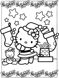 Coloring Pages Kids Activities In Hello Kitty For At Christmas