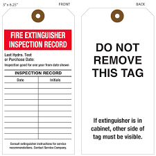 Fire Extinguisher Inspection Tag Template Images Gallery Printed