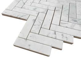 bianco honed 1x4 herringbone marble mosaic tile