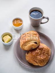 Above View Of A Continental Breakfast With French Chocolate Croissants Butter Jam And Black
