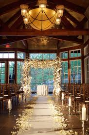 Wooden Indoor Setting Floral Arch Chairs Petal Lined Aisle Big Windows As Backdrop If I Have To An Wedding This Is It