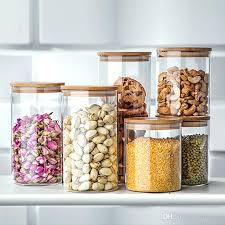 Glass Jars For Storage Container Cereals Tea Coffee Sugar Mason Lids Kitchen Cans Pots Ware