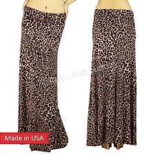 women animal print leopard fold over print long maxi skirt regular