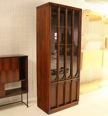 Mid Century Modern Danish Walnut And Rosewood Slim Curio China Cabinet
