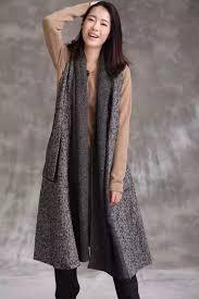 women woolen vest coat warm loose long jacket chic outwear r