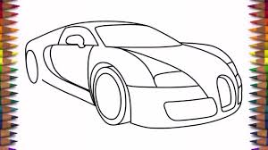 How to draw a car Bugatti Veyron 2011 drawing for beginners and kids step by step easy