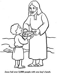Bible Jesus Feeds Fresh 5000 Coloring Pages