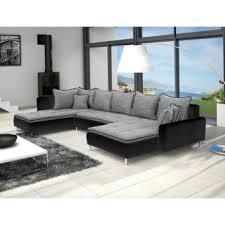 canape angle en u canapé d angle en u dante 6 à 7 places gris et blanc achat