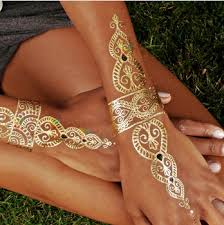 Fashion Body Art Flash Metallic Temporary Tattoos Gold Tatoos Metalic Tatoo Tattoo Paint Stickers In From Beauty Health On