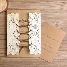 Vintage Lace Pocket Ribbon Wedding Invitations EWLS001