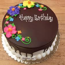 happy birthday cake text write name on new arrival happy birthday chocolate cake add text