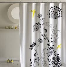 Black And White Flower Shower Curtain by Simple Extra Long Fabric Shower Curtain In White Base Color With