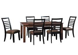 Manishore Brown Rectangular Dining Room Table W 6 Upholstered Side ChairsSignature Design By