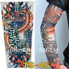 Japanese Dragon Lotus Fake Full Arm Leg Sleeve Tattoo Design Red Blue Mens