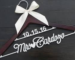 Rustic Wedding Hanger With Date And Name Custom Wood Bridal Last LL028