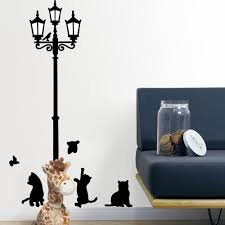 wholesale retail black diy l and cats wall stickers