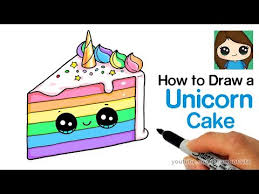 How To Draw A Unicorn Rainbow Cake Slice Easy And