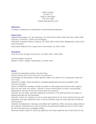 Front Desk Resume Skills by Receptionist Objective Resume Chiropractic Receptionist Resume