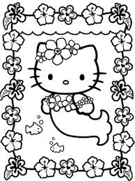 Hello Kitty Mermaid Coloring Page