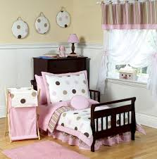 Elmo Toddler Bedding by Pink Brown Polka Dot Toddler Comforter Bedding 5pc Bed In A