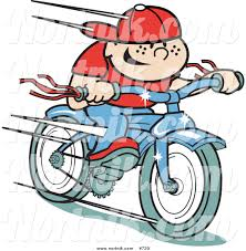 Clipart Of Retro Boy Riding Bike