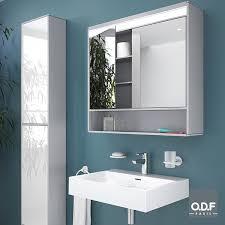 spiegelschrank 2 türig mit led licht ablage 80 x 75cm