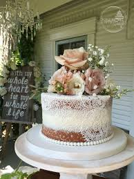 Un stacked Shabby Chic Naked Wedding Cake with Edible Cake Lace and