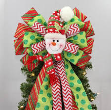 Jolly Snowman Christmas Tree Topper Bow