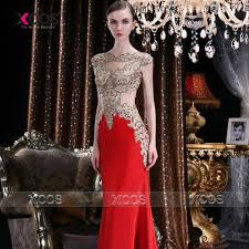 long red evening dress gold lace appliques engagement prom