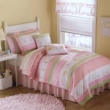 Elegant Floral Pink Green Bedding Twin Quilt Set Cotton Striped